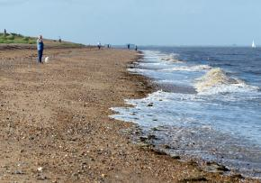 Dog walkers on the beach at Snettisham