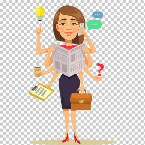 vector graphics illustration clip art woman computer multitasking woman